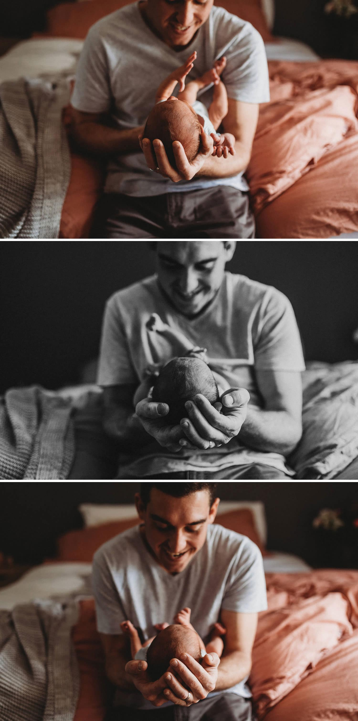 Sutherland Shire Newborn Photography dad with newborn baby